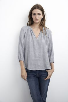 Velvet by Graham & Spencer :: Pinstripe Popover Top :: Super Soft Shirt :: Fall Street Style :: Fall Trends