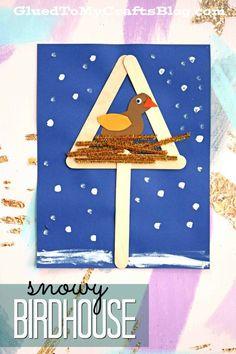 Mixed Media Snowy Birdhouse - Winter Themed Kid Craft #winter #kidcrafts #gluedtomycrafts