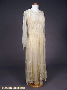 Augusta Auctions, May 2007 Vintage Clothing & Textile Auction, Lot 657: Embroidered Pina Cloth Tea Gown, C. 1915