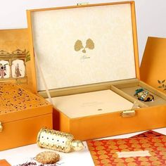 Mango Colored Wedding Invitations with Cream Floral Print and Laser Cut Boxes. Laser Cut Invitation, Wedding Invitation Cards, Custom Invitations, Wedding Cards, Laser Cut Box, Indian Theme, Big Fat Indian Wedding, Wedding Card Design, Wedding Boxes