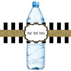 INSTANT DOWNLOAD  Gold Glitter Black Stripe Water Bottle Label by ATimeAndPlaceDesign