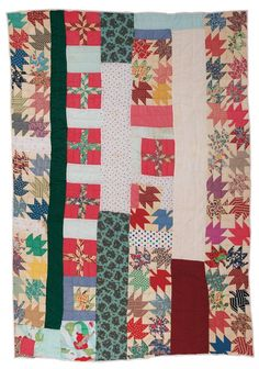 "Eddie Lee Pettway Green - Rows of blocks with various patterns (predominately ""Maple Leaf"") - 1997 Cotton and cotton/polyester blend 75 x 104 inches"