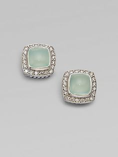 David Yurman Diamond Accented Aqua Chalcedony Stud Earrings