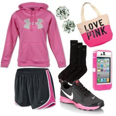 Hot Pink & Black Workout Outfit, created by girlinasmalltown on Polyvore