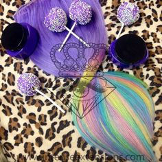 How sweet is this combo?  a freshly updated top color, dyes and cake pops to match for @nicolehendrickson_ order your custom extensions at www.intenseextensions.com layaway plans are available!