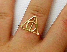 Harry Potter Ring - deathly hallows Ring - teen ring jewelry-Wire Wrap Ring, non-Adjustable Ring- Cool,Funny, Geeky Gift for Best Friend