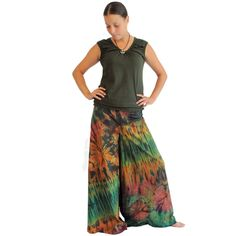 Triangle Mudmee Pants $34.95 With a striking mudmee tie dye pattern and extra wide legs, these pants will soon be a favorite. Wide elastic waist with ties ensures a snug fit. As tie dye is an art no two are the same, each is as unique as the individual wearing it. Comes in Assorted Colors, 100% Cotton. www.hippieshop.com