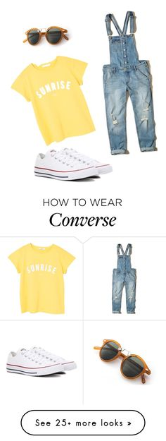 Polyvore featuring Hollister Co., MANGO and Converse
