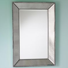Beaded Frame Mirror. 24x36, actual frame 28x36, $275, silver, Phillip or better even: formal powder room !!