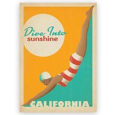 California Sunshine Vintage Design Poster - Americanflat - Temple & Webster