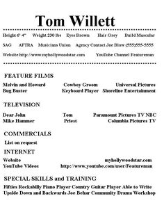 Good special skills acting resume