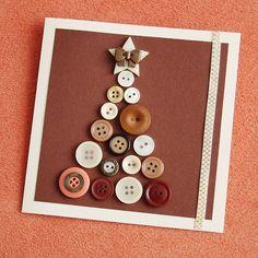 Nápady Na Vánoční Přáníčka - Yahoo Image Search Results Christmas Wrapping, Christmas Art, Christmas Presents, Diy And Crafts, Arts And Crafts, Paper Crafts, Button Art, Homemade Cards, Kids And Parenting
