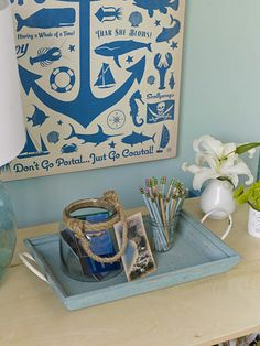 Keep local postcards and a tray of pencils in your guest room