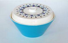 Vintage ceramic lidded bowl with blue leaf by Timebanditvintage