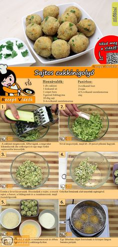 Sajtos cukkinigolyó recept elkészítése videóval-gm-re cserélem Cheese Ball Recipes, Veggie Recipes, Baby Food Recipes, Appetizer Recipes, Vegetarian Recipes, Cooking Recipes, Healthy Recipes, Zucchini Balls Recipe, Zucchini Cheese