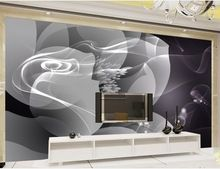 Modern abstract background black and white smoke flower background wall decoration painting mural 3d wallpaper(China)