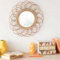 Miroir rond en rotin D 50 cm VINTAGE