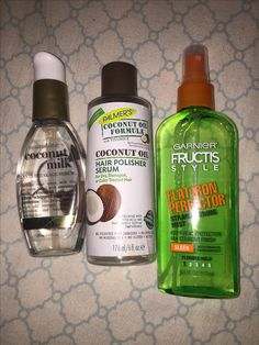 Hair straightening products I love using  #hair #fructisgarnier #palmerscoconuthair #hair #naturalhair #blackgirlhair #flatironhair #hairheatprotector Pinterest @Joyce Comfort