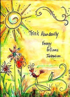 "8x10 ""Think Abundantly"" Watercolor Print"