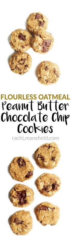These Flourless Oatmeal Peanut Butter Chocolate Chip Cookies are an easy and delicious cookie anyone will love! Perfect to dip in almond milk for an after dinner dessert!