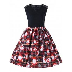 Plus Size Christmas Sleeveless Swing Dress