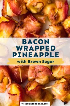 Bacon Wrapped Pineapple is such a great finger food! It's the perfect mix of salty and sweet flavors. Just 4 ingredients for this party appetizer recipe. #pineapple #appetizerrecipe #easyappetizers #bacon #thanksgivingrecipe #partyfood #gameday Quick And Easy Appetizers, Easy Appetizer Recipes, Appetizers For Party, Bacon Wrapped Appetizers, Bacon Wrapped Shrimp, Bacon Wrapped Water Chestnuts, Bacon Wrapped Pineapple, Chestnut Recipes, Game Day Food
