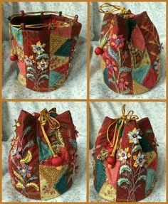 ideas crazy quilting bag embroidery for 2019 Crazy Quilting, Crazy Patchwork, Patchwork Bags, Quilted Bag, Quilting Ideas, Bag Quilt, Potli Bags, Handmade Purses, Boho Bags