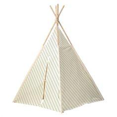 Kinder Tipi-Zelt Streifen mint/weiß H160cm