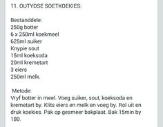 Outydse Soetkoekies Biscuit Cookies, Biscuit Recipe, Cake Cookies, Different Recipes, Other Recipes, Kos, Apple Pie Cupcakes, Spritz Cookies, Recipe Filing
