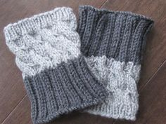 2 IN 1  Hand Knitted Boot Cuffs  SILVER and GREY by Frenchstyle1