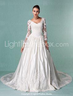 Lanting Bride® De Baile Pequeno / Tamanhos Grandes Vestido de Noiva - Clássico e atemporal / Elegante e Luxuoso Inspiração VintageCauda de 2017 por R$675.97