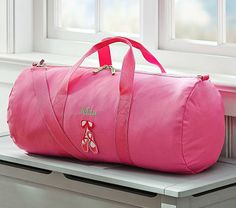 Personalized pink ballet duffel bag to hold all of our dance things Pink Duffle Bag, Duffel Bag, Ballet Bag, Baby Furniture, Baby Registry, Pottery Barn Kids, Sewing Ideas, Baby Gifts, Hair Accessories