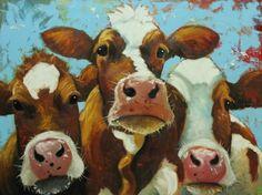 Cows painting animals 491 30x40 inch original portrait by RozArt ...