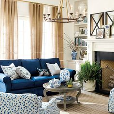 Solutions for Teal and White Living Room Decor - airhomedecor Blue Couch Living Room, Navy Living Rooms, Coastal Living Rooms, Blue Rooms, Blue And Yellow Living Room, Coastal Cottage, Coastal Homes, Living Spaces, Room Color Schemes
