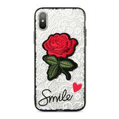 Case For iPhone 6 7 8 Plus Case Lace Transparent Red Rose Emboss Cover For iPhone 6 7 Phone Bag for iPhone X Fundas