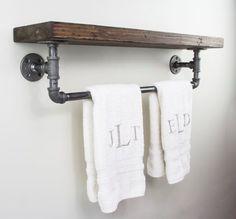Bathroom Floating Shelf with Towel Rack | Industrial Floating Shelves | Custom…