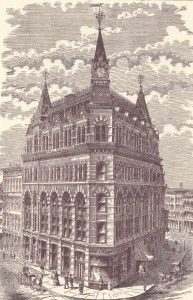 The Rice Building, The top floor and towers were destroyed in a fire.
