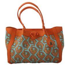Ardmore handbag in Croco Persimmon fabric with Orange leather trim. Africa Craft, Best Handbags, Fabric Bags, Orange Leather, Bago, Tribal Prints, Girls Best Friend, Bag Making, Leather Handbags