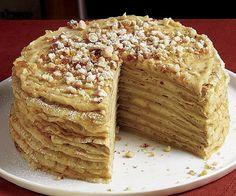 Crepe Torta con crema de café y avellana Praline receta by Trillado