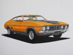 My friend Wayne does awesome art: here's an XB Ford Falcon GT.
