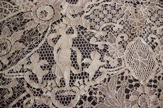 Antique Figural Belguim Lace Tablecloth - Handmade TopDrawerLinens Available
