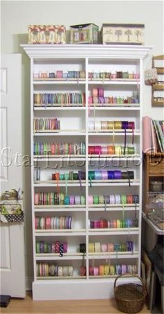 Starlit Studio - Ribbon Organization - Way too cool. Not sure I have space or enthusiasm to build such a cool storage
