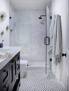 bright, modern shower   domino.com