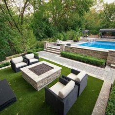 Backyard Patio Designs, Small Backyard Landscaping, Backyard Ideas, Large Backyard, Backyard Layout, Modern Backyard Design, Terraced Backyard, Pool House Designs, Inexpensive Landscaping