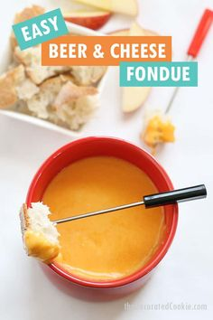 This easy BEER AND CHEESE FONDUE tastes delicious and takes no time at all to make. The perfect appetizer for any party.  Dip pretzels, bread, whatever. Best Cheese Fondue, Beer Cheese, Fondue Recipes, Wine Recipes, Snack Recipes, Gourmet Appetizers, Gourmet Cheese, B Recipe, Best Comfort Food