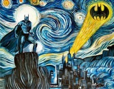 Starry night van Gogh batman painting city moon symbol buildings sky.......hmmm I ABSOLUTELY LOVE IT Must Have!