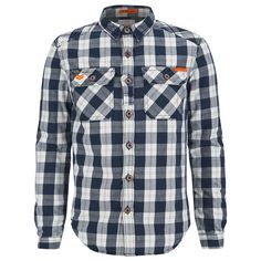 Superdry Men's Rookie Flannel Shirt (107,030 KRW) ❤ liked on Polyvore featuring men's fashion, men's clothing, men's shirts, men's casual shirts, shirts, navy, mens navy blue shirt, mens long sleeve shirts, old navy mens shirts and mens long sleeve collared shirts