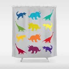 Dinosaur Shower Curtain  Dinosaur by ArtfullyFeathered on Etsy