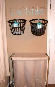 Decorative Hanging Laundry Baskets Will Save You Time - 150 Dollar Store Organizing Ideas and Projects for the Entire Home - Page 31 of 150 - DIY & Crafts