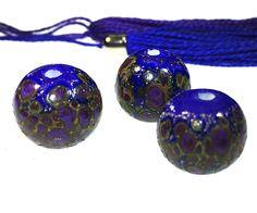 Blue Round 15x15mm Handmade Lampwork Glass Beads From Murano Glass 3 Pcs #HandmadeLampworkBeads #Lampwork